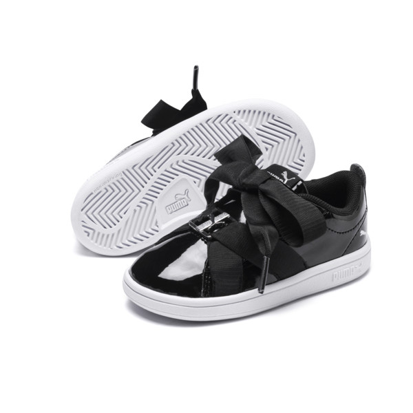 PUMA Smash v2 Patent Buckle AC Toddler Shoes, Puma Black-Puma Silver-White, large