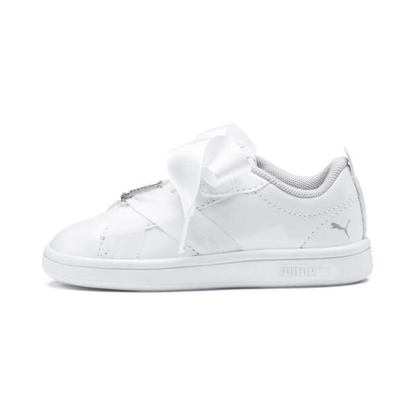 PUMA Smash v2 Patent Buckle AC Toddler Shoes, Puma White-Puma Silver, large