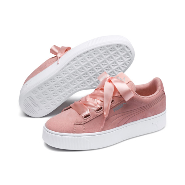 PUMA Vikky Stacked Ribbon Women's Trainers, Peach Bud-Peach Bud, large