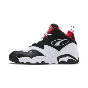 Thumbnail 1 of Source Mid Sneakers, Black- White-High Risk Red, medium