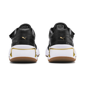 Thumbnail 4 of Nova V Leather Women's Trainers, Puma Black-Puma Team Gold, medium