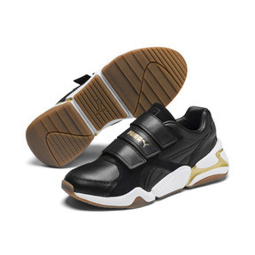 Thumbnail 3 of Nova V Leather Women's Trainers, Puma Black-Puma Team Gold, medium