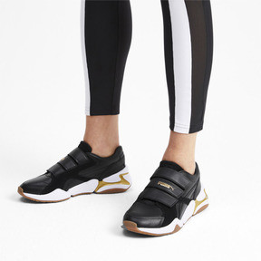 Thumbnail 2 of Nova V Leather Women's Trainers, Puma Black-Puma Team Gold, medium