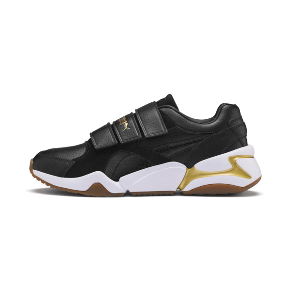 Nova V Leather Women's Trainers, Puma Black-Puma Team Gold, large