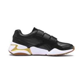 Thumbnail 6 of Nova V Leather Women's Trainers, Puma Black-Puma Team Gold, medium