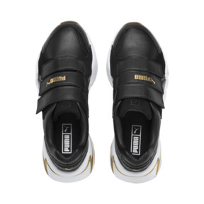 Thumbnail 7 of Nova V Leather Women's Trainers, Puma Black-Puma Team Gold, medium