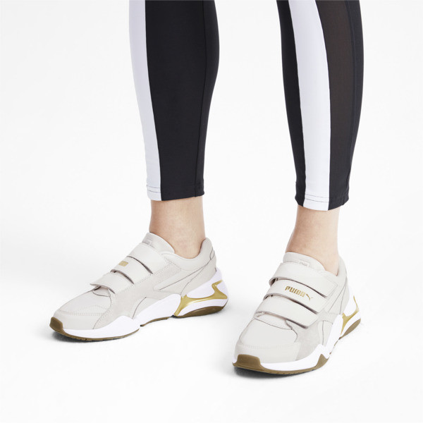 Nova V Leather Damen Sneaker, Pastel Parchment-P.Team Gold, large