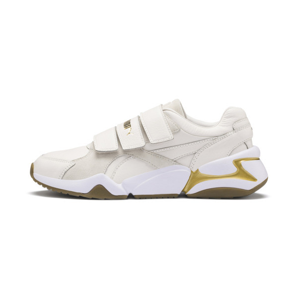 Nova V Leather Women's Trainers, Pastel Parchment-P.Team Gold, large