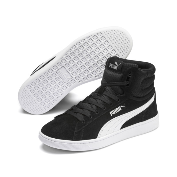 PUMA Vikky v2 Mid Women's Sneakers, Puma Black-White-Silver-Pink, large