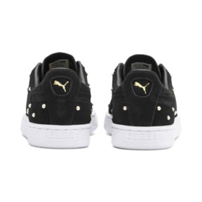 Thumbnail 4 of Basket Pearl Studs Suede pour femme, Puma Black-Puma Team Gold, medium