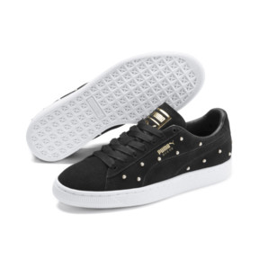 Thumbnail 3 of Pearl Studs Suede Women's Trainers, Puma Black-Puma Team Gold, medium