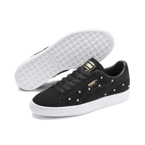 Pearl Studs Suede Women's Trainers, Puma Black-Puma Team Gold, large