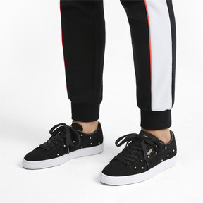 Thumbnail 2 of Pearl Studs Suede Women's Trainers, Puma Black-Puma Team Gold, medium