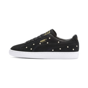Thumbnail 1 of Basket Pearl Studs Suede pour femme, Puma Black-Puma Team Gold, medium