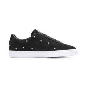 Thumbnail 6 of Pearl Studs Suede Women's Trainers, Puma Black-Puma Team Gold, medium