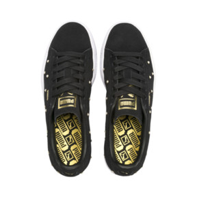 Thumbnail 7 of Basket Pearl Studs Suede pour femme, Puma Black-Puma Team Gold, medium