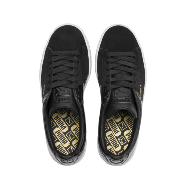 Basket Remix Women's Sneakers, Puma Black-Puma Team Gold, large
