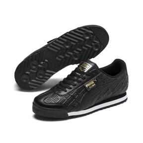 Thumbnail 3 of Roma Reinvent Women's Sneakers, Puma Black-Puma Team Gold, medium