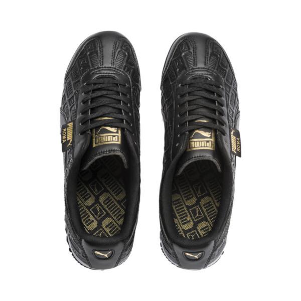 Roma Reinvent Women's Sneakers, Puma Black-Puma Team Gold, large