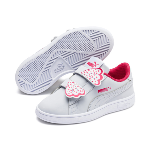 Puma Smash v2 Butterfly Little Kids' Shoes, Heather-Nrgy Rose-Puma White, large