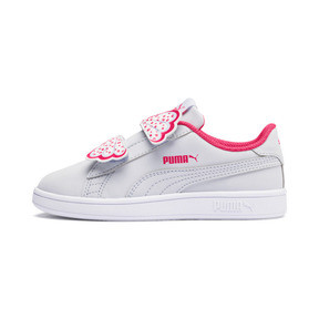 Thumbnail 1 of Puma Smash v2 Butterfly Little Kids' Shoes, Heather-Nrgy Rose-Puma White, medium