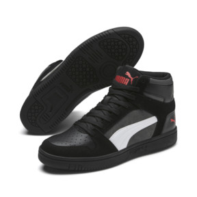 Thumbnail 2 of PUMA Rebound LayUp Suede Sneakers, Blk-CASTLEROCK-Wht-HRisk Red, medium