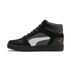 Thumbnail 1 of PUMA Rebound LayUp Suede Sneakers, Blk-CASTLEROCK-Wht-HRisk Red, medium