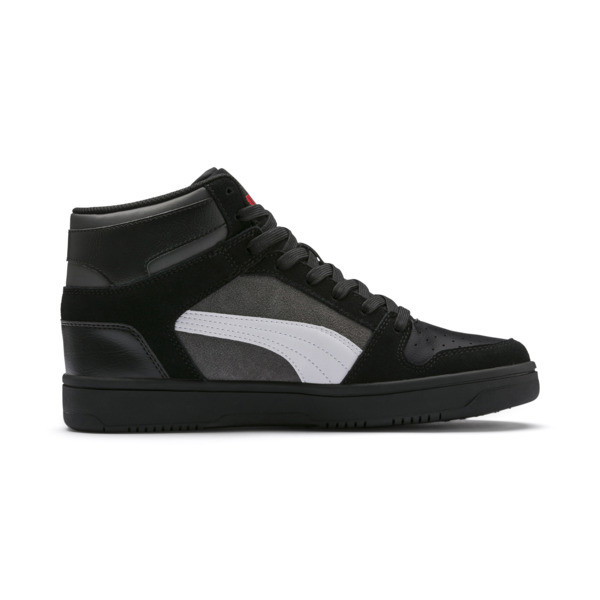 Zapatos deportivos de gamuza PUMA Rebound LayUp, Blk-CASTLEROCK-Wht-HRisk Red, grande