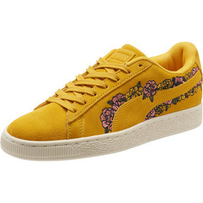 Thumbnail 1 of Suede Embroidered Floral Women's Sneakers, Whisper White, medium