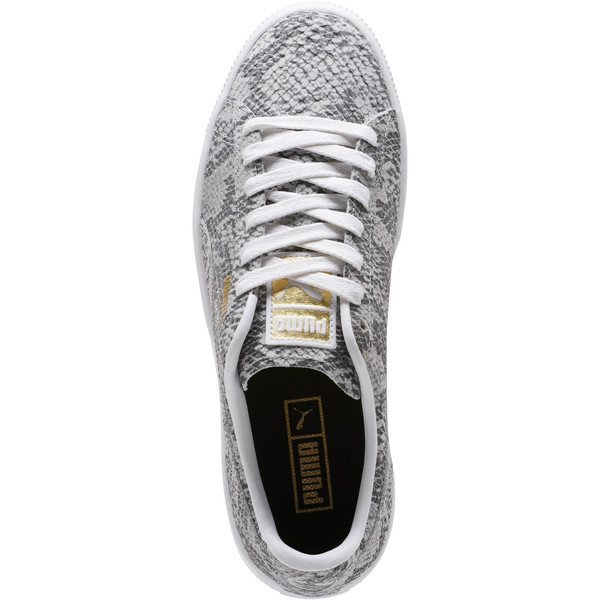 Clyde Reptile Women's Sneakers, P Wht-P Blk-Metallic Gold, large