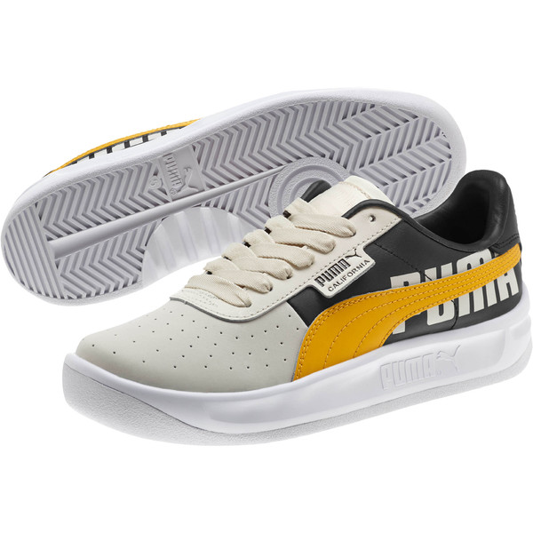 California PUMA Logo Women's Sneakers, Whisper White-Gold Fusion, large