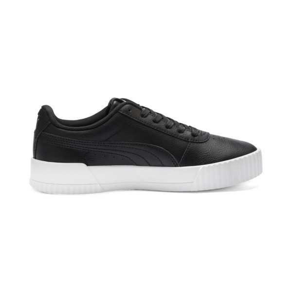 Carina Leather Women's Sneakers, Puma Black- White-Silver, large
