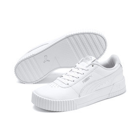 Thumbnail 2 of Carina Leather Women's Sneakers, Puma White- White-Silver, medium