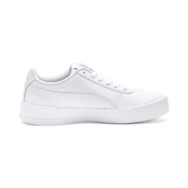 Carina Leather Women's Sneakers, Puma White- White-Silver, large