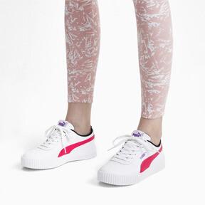 Thumbnail 3 of Carina Leather Women's Sneakers, Puma White-Nrgy Rose, medium