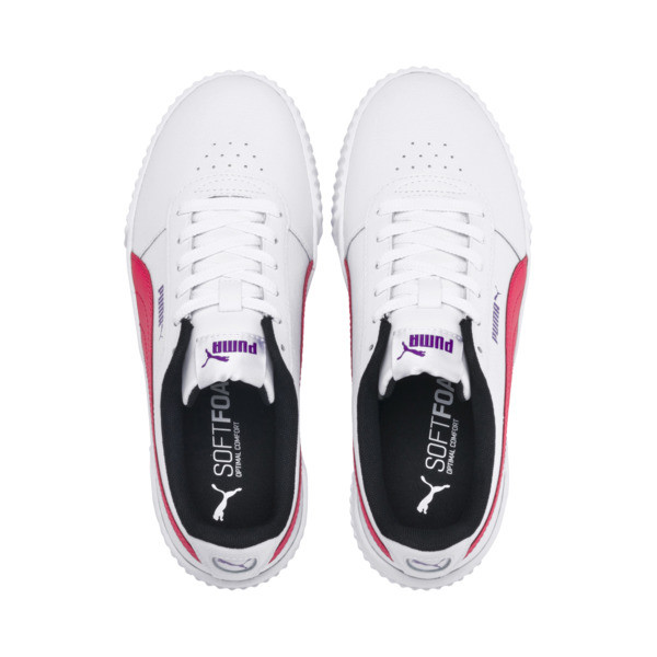 Carina Leather Women's Sneakers, Puma White-Nrgy Rose, large