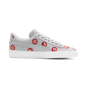Thumbnail 5 of PUMA x SESAME STREET 50 Suede Badge Sneakers JR, Grey Dawn-High Risk Red, medium