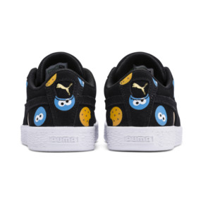 Thumbnail 3 of PUMA x SESAME STREET 50 Suede Badge Little Kids' Shoes, Puma Black-Bleu Azur, medium
