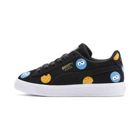 Thumbnail 1 of PUMA x SESAME STREET 50 Suede Badge Little Kids' Shoes, Puma Black-Bleu Azur, medium