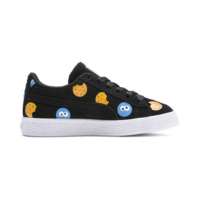 Thumbnail 5 of PUMA x SESAME STREET 50 Suede Badge Little Kids' Shoes, Puma Black-Bleu Azur, medium