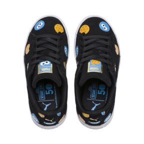 Thumbnail 6 of PUMA x SESAME STREET 50 Suede Badge Little Kids' Shoes, Puma Black-Bleu Azur, medium