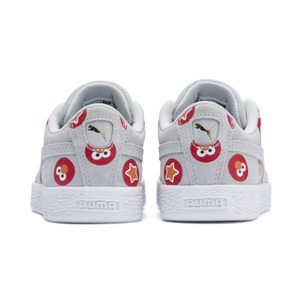 PUMA x SESAME STREET 50 Suede Badge Little Kids' Shoes, Grey Dawn-High Risk Red, large