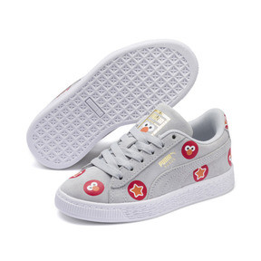 Thumbnail 2 of PUMA x SESAME STREET 50 Suede Badge Little Kids' Shoes, Grey Dawn-High Risk Red, medium