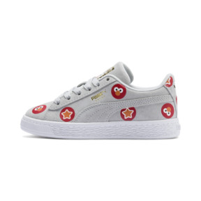 Thumbnail 1 of PUMA x SESAME STREET 50 Suede Badge Little Kids' Shoes, Grey Dawn-High Risk Red, medium