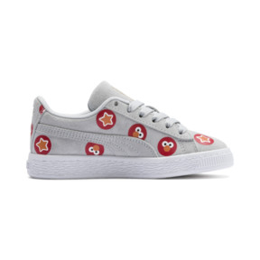 Thumbnail 5 of PUMA x SESAME STREET 50 Suede Badge Little Kids' Shoes, Grey Dawn-High Risk Red, medium
