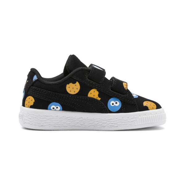 PUMA x SESAME STREET 50 Suede Badge Toddler Shoes, Puma Black-Bleu Azur, large