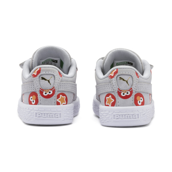 PUMA x SESAME STREET 50 Suede Badge Toddler Shoes, Grey Dawn-High Risk Red, large
