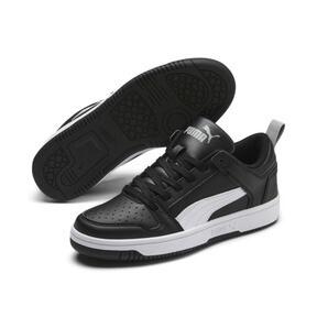 Thumbnail 2 of PUMA Rebound LayUp Lo Sneakers JR, Puma Black-White-High Rise, medium
