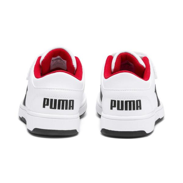 PUMA Rebound LayUp Lo Little Kids' Shoes, Puma White-Puma Black-Red, large