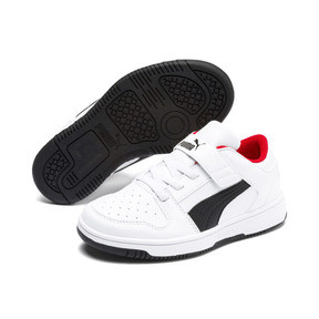Thumbnail 2 of PUMA Rebound LayUp Lo Little Kids' Shoes, Puma White-Puma Black-Red, medium